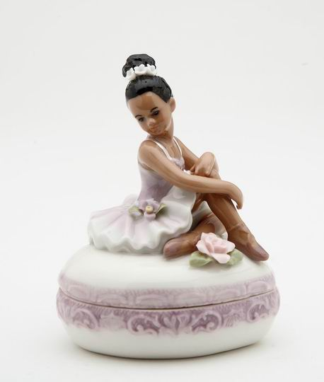 Porcelain African American Ballerina with Purple Dress Trinket Box