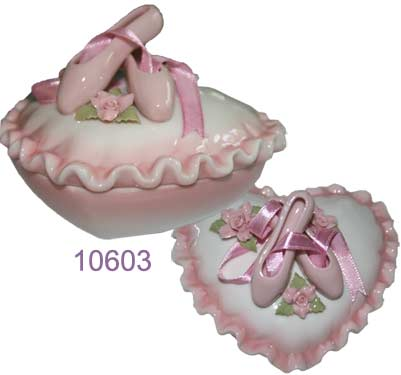Porcelain Heart Shaped Trinket Box with Ballet Slippers