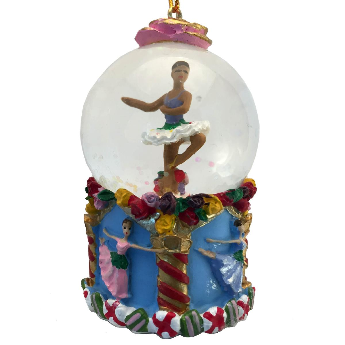 Mini African American Flower Dancer Snow Globe Ornament