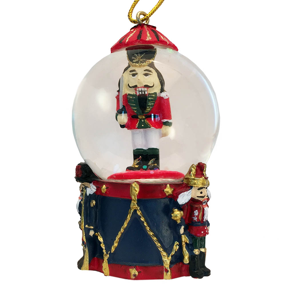 Mini Nutcracker Soldier on Drum Snow Globe Ornament