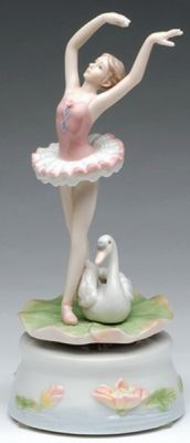 Porcelain Turning Ballerina with Swan Music Box and Plays Swan Lake