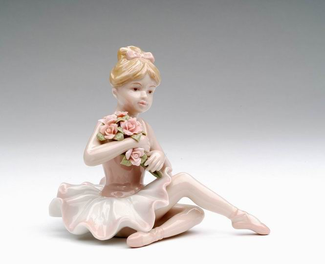 Porcelain Ballerina in Pink Dress Sitting Figurine 4 inch