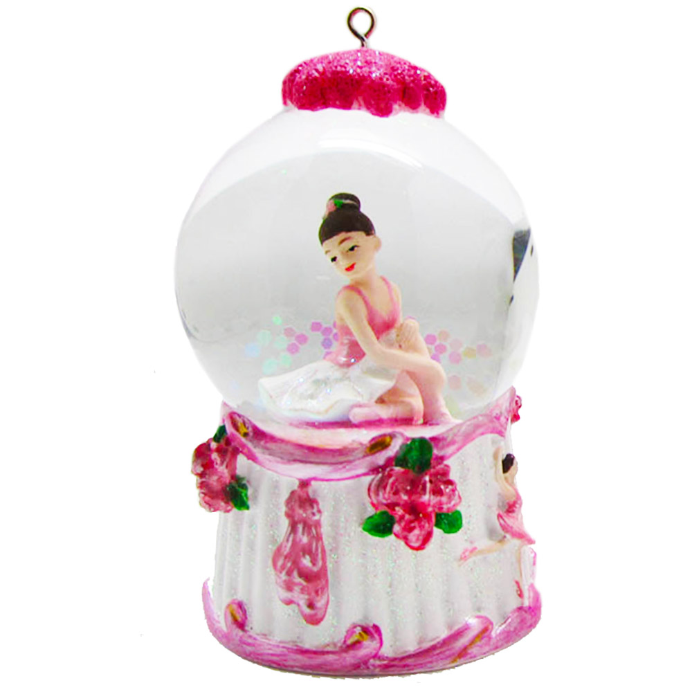 Mini Ballerina Pink and White Snow Globe Ornament