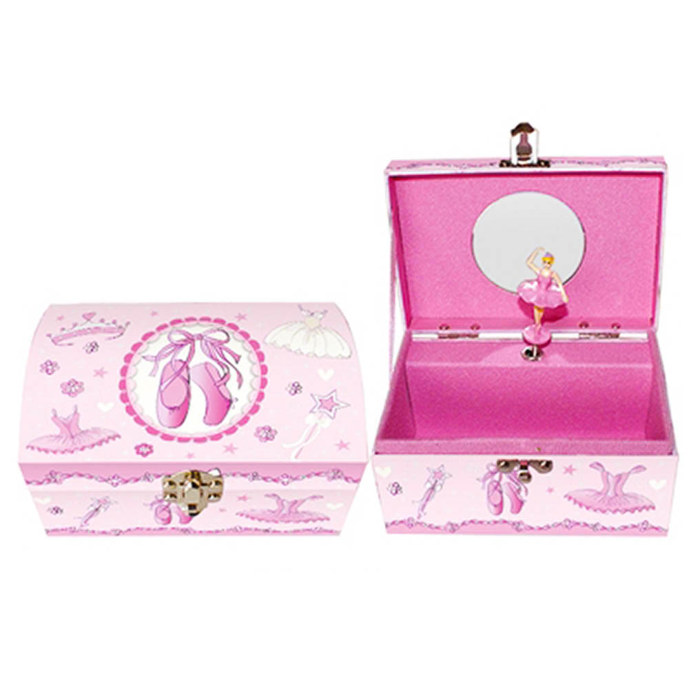 Pink Rectangle Ballerina Musical Jewelry Box