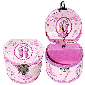 Pink Round Ballerina Musical Jewelry Box