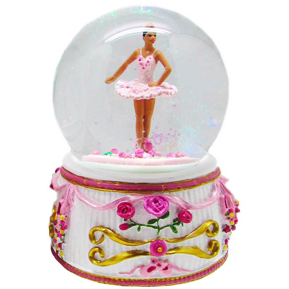Musical African American Turning Ballerina Snow Globe 100mm