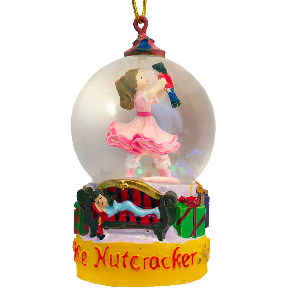 Mini Clara with Nutcracker Snow Globe Ornament