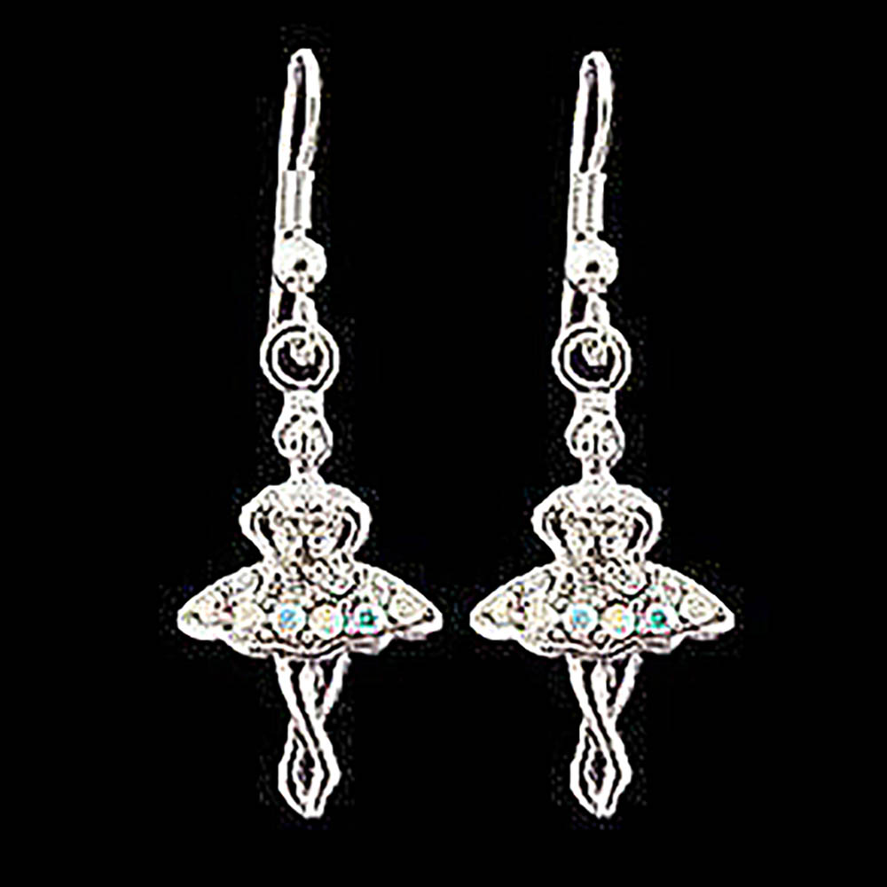 Ballerina Aurora in Tutu Dress Genuine Crystal Earrings