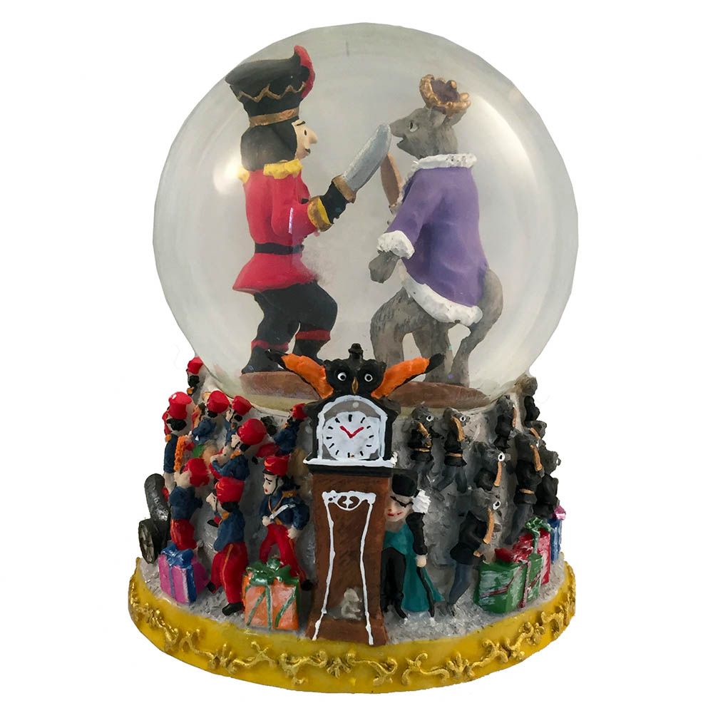 Musical Fight Scene Snow Globe Plays Nutcracker Suite March