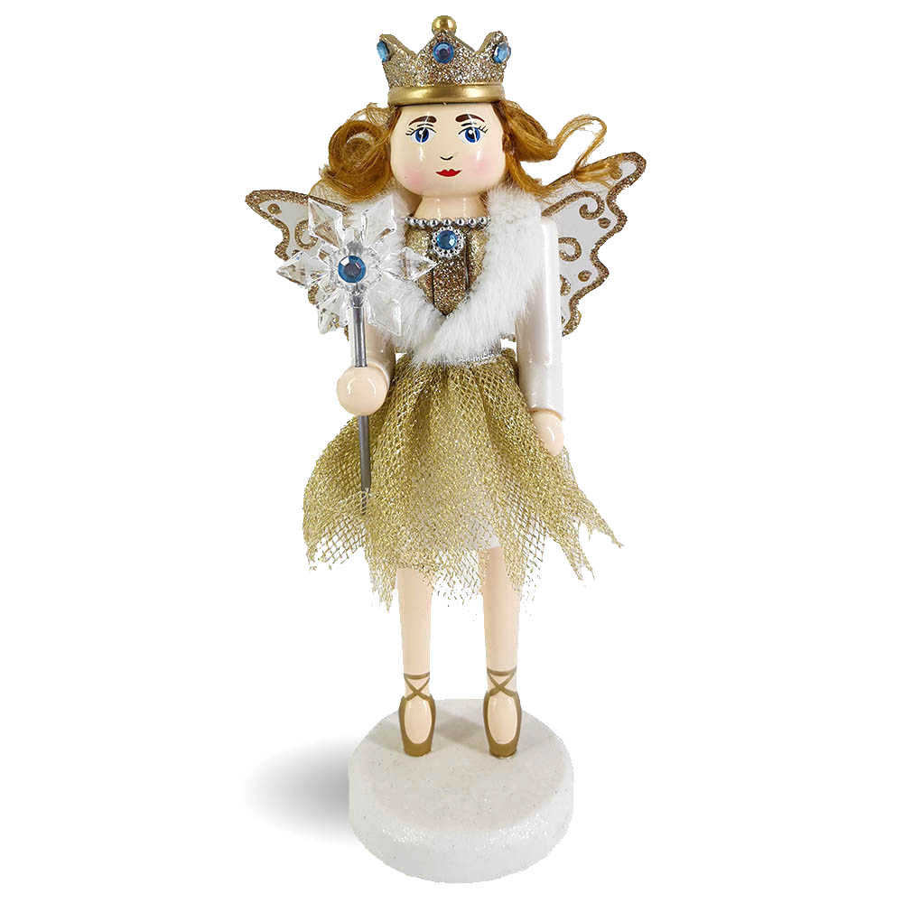Angel Fairy Female Nutcracker with sparkly wings 10 inch