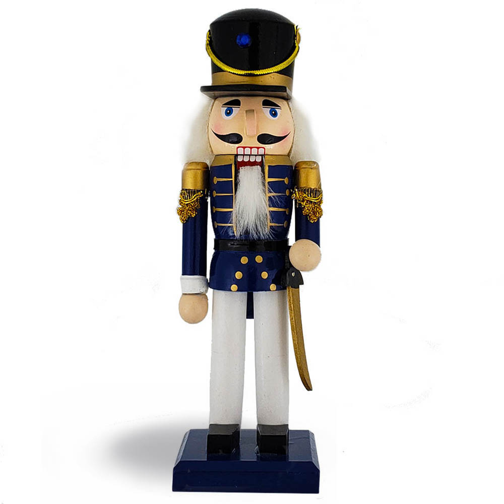 Traditional Soldier Nutcracker Blue White Black Hat 10 inch