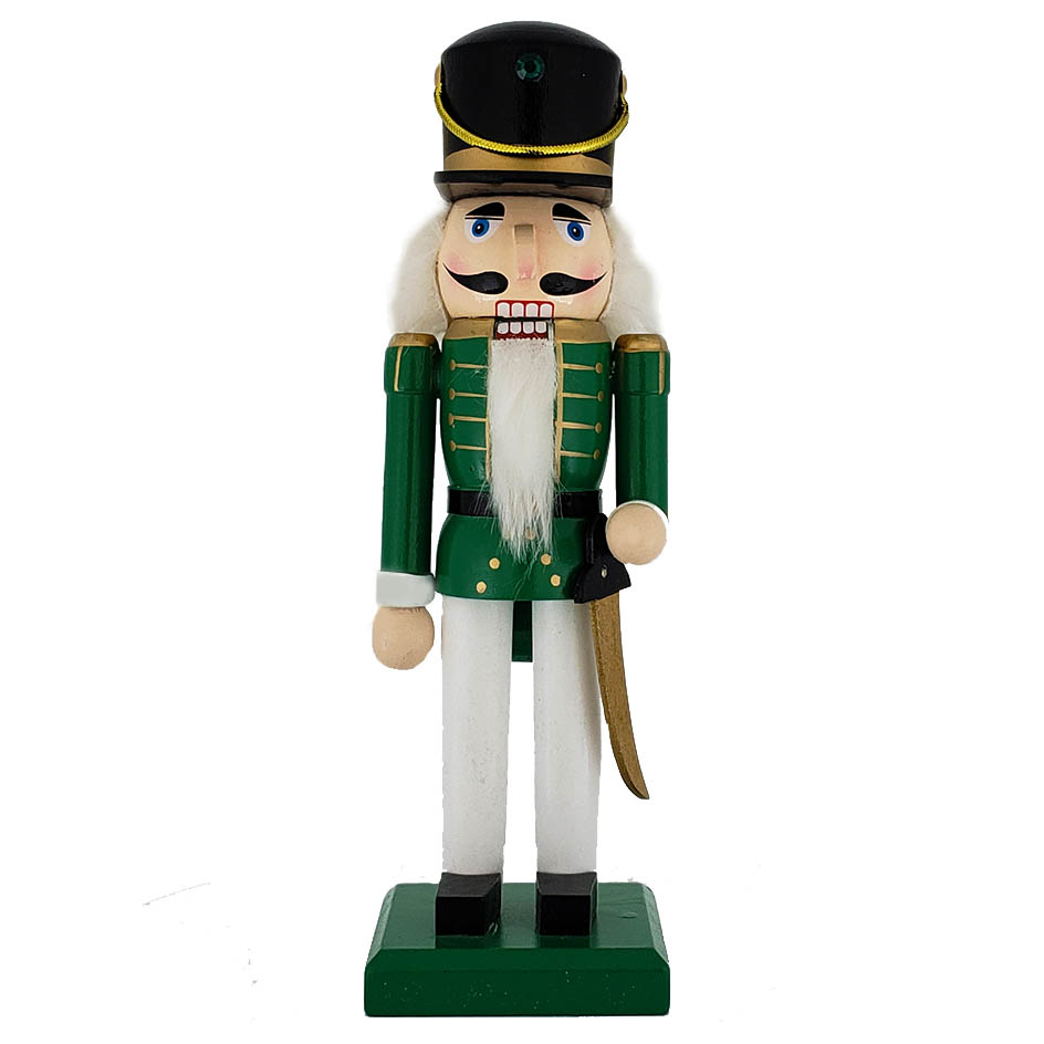 Traditional Soldier Nutcracker Green White Black Hat 10 inch