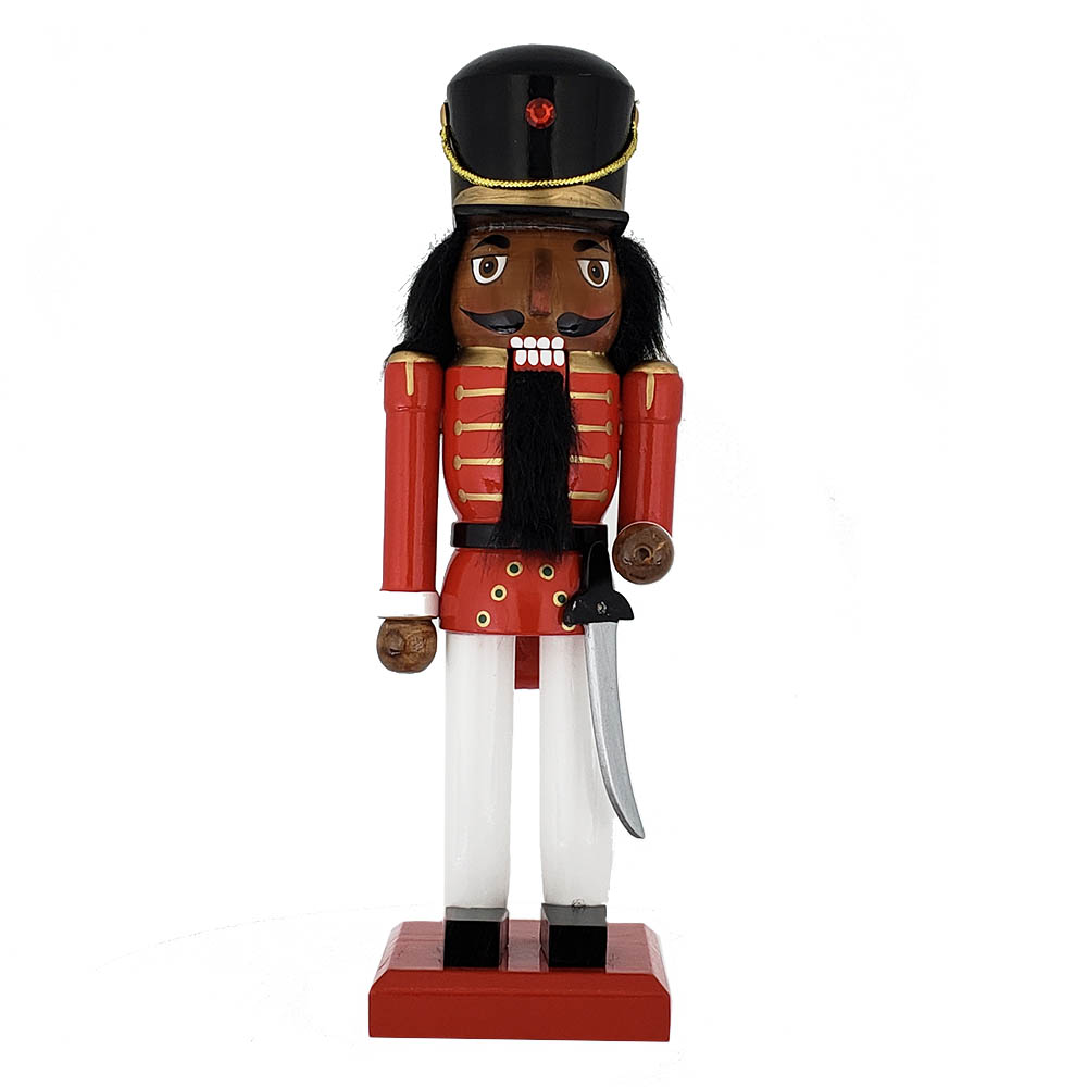 African American Soldier Nutcracker Red White Black Hat 10 inch