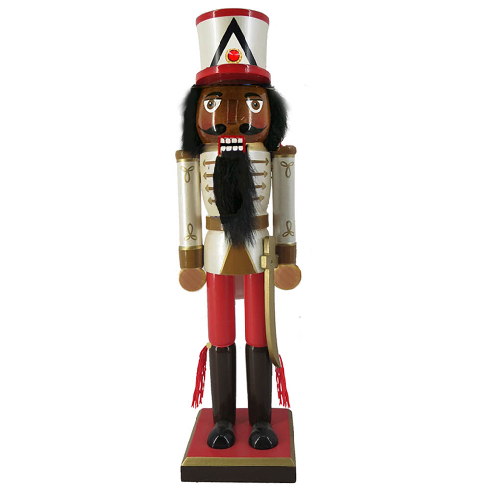 African American Soldier Nutcracker Sword and Hat 10 Inch