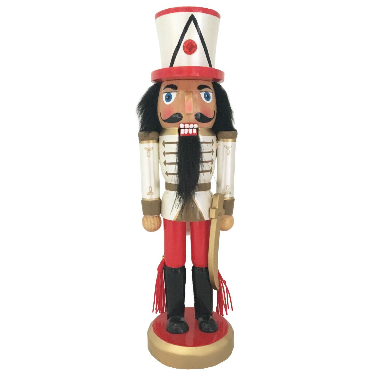 Soldier Nutcracker Red White Gold and Sword 10 inch