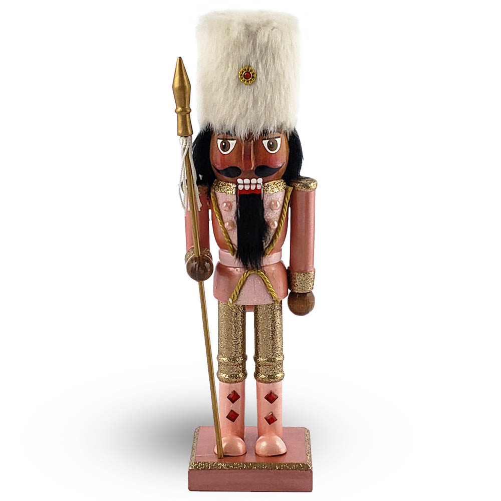 African American Soldier Nutcracker Rose Gold with Hat 10 Inch