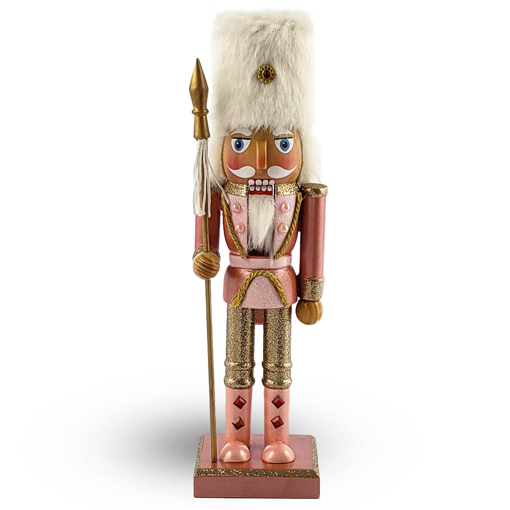 Soldier Nutcracker in Fancy Rose Gold White Fur Hat 10 Inch