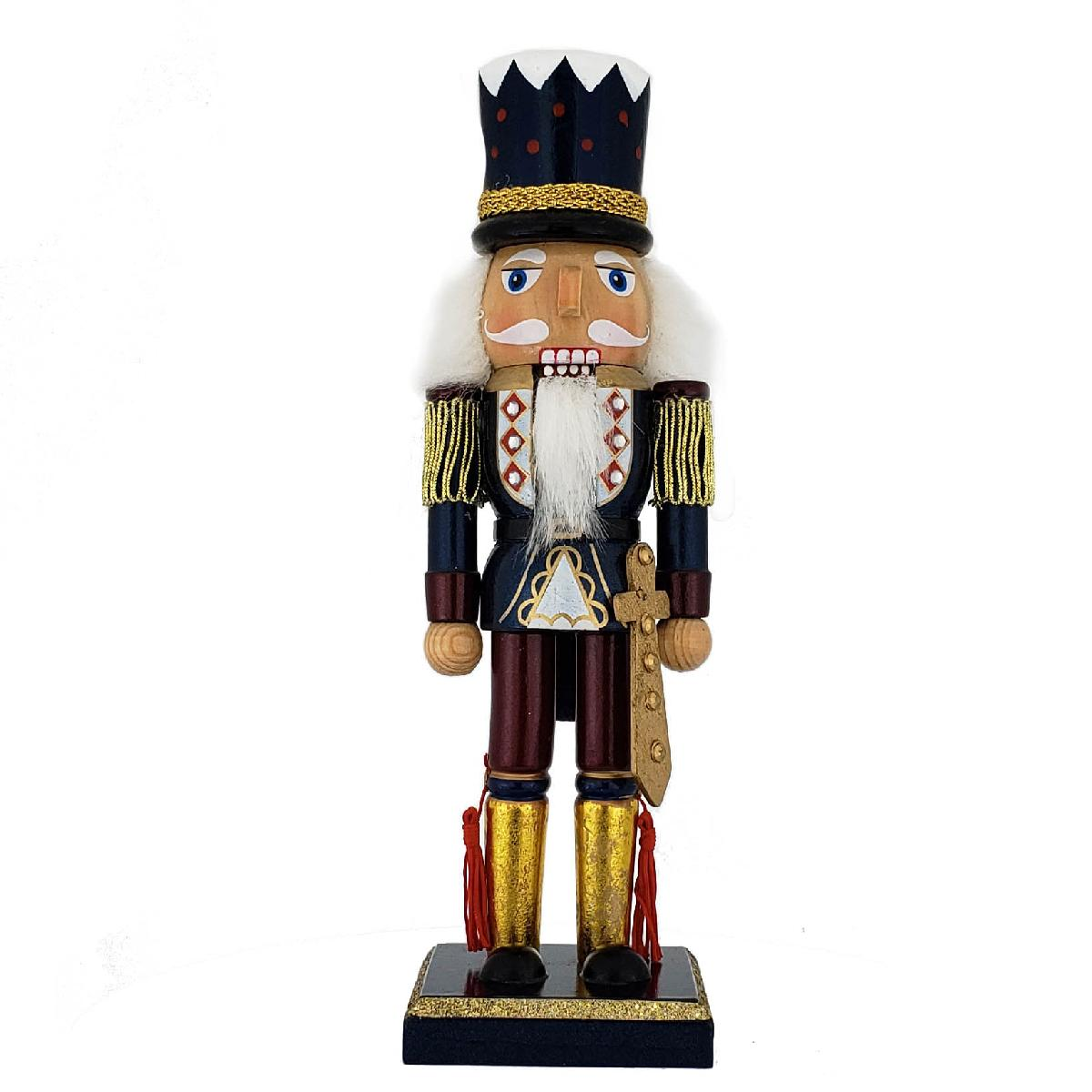 Soldier Nutcracker Blue Gold Top Hat and Sword 10 inch