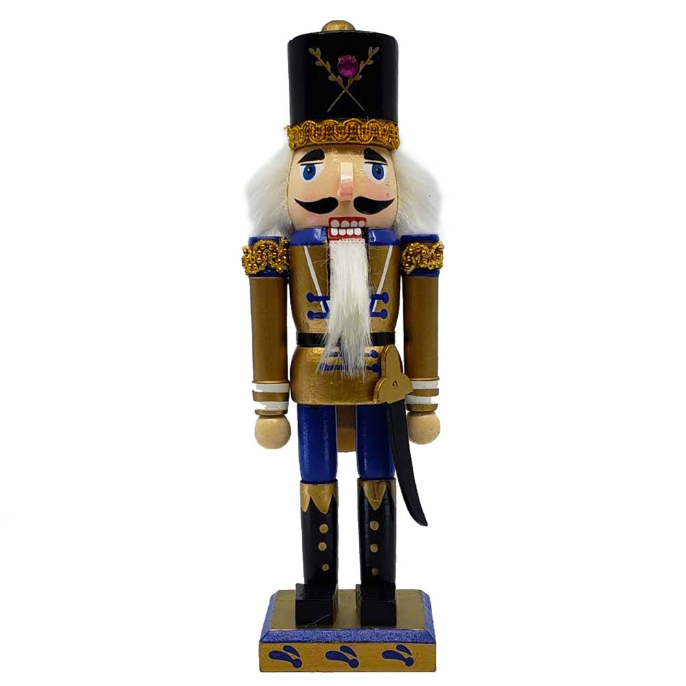 Soldier Nutcracker Gold Purple and Black Sword 10 inch