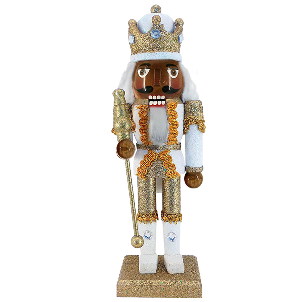 African American King Nutcracker Gold Metallic Glitter 10 Inch