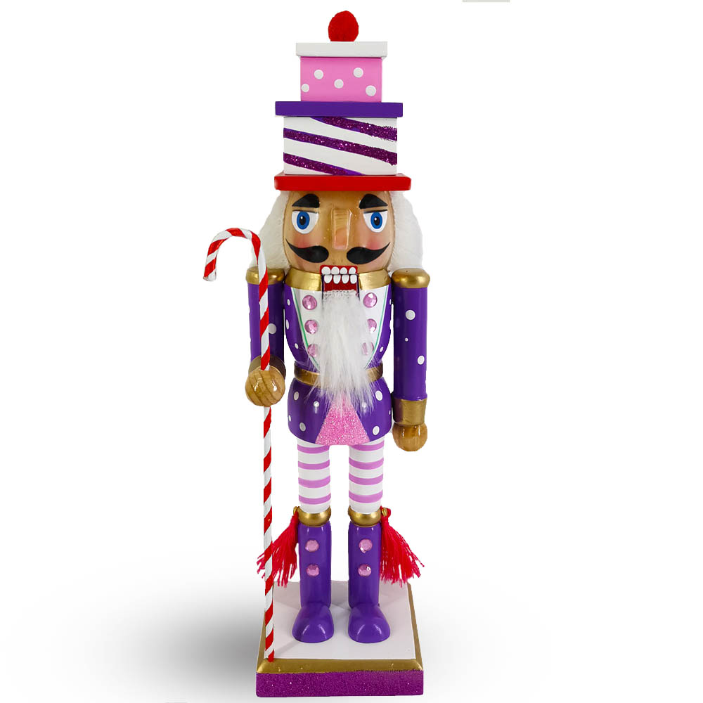Candy Cane Nutcracker Purple Pink White with Gift Hat 10 inch