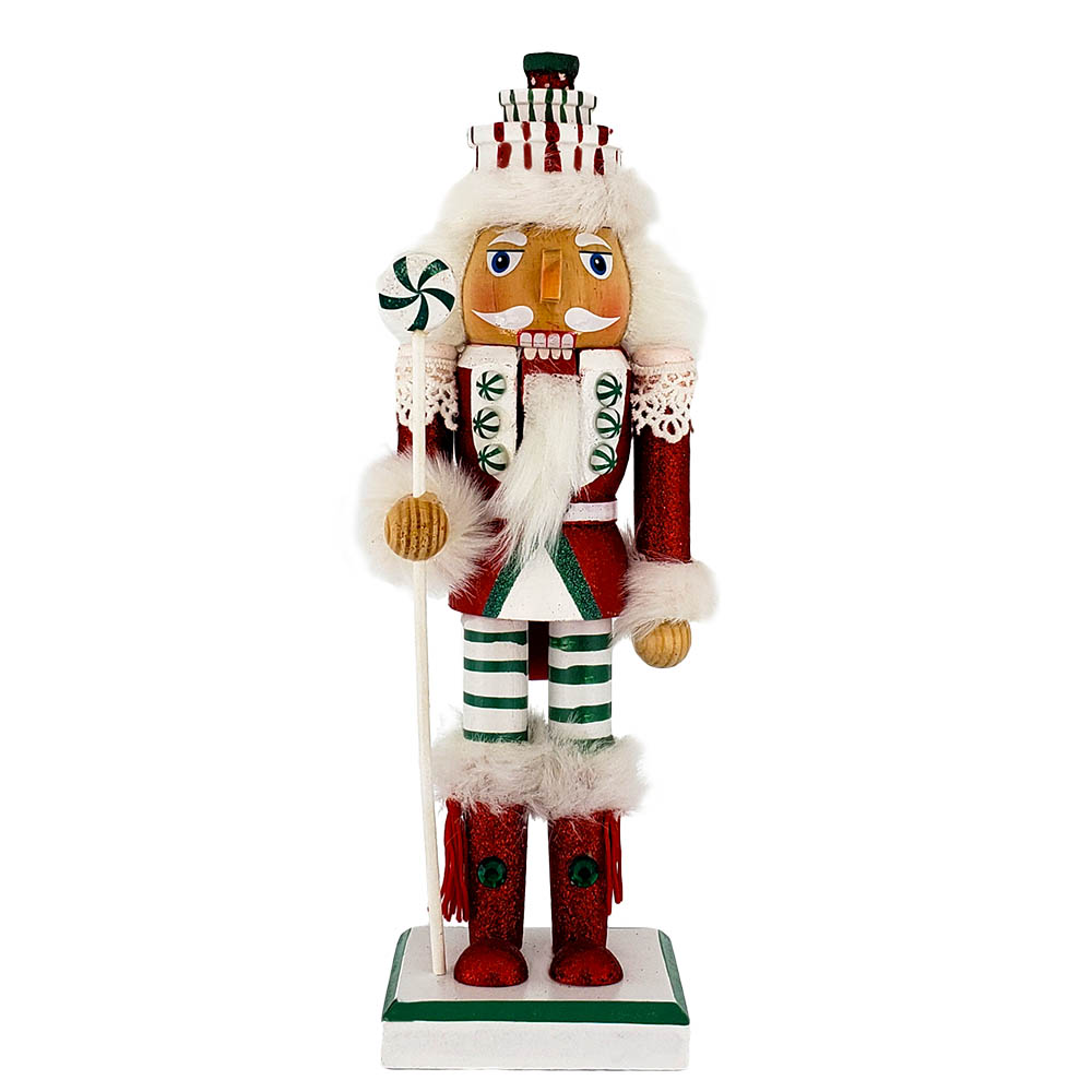 Candy Cane Nutcracker Red White Green with Gift Hat 10 inch