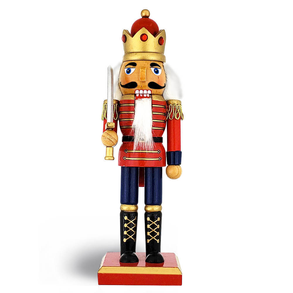 Traditional King Nutcracker Red and Bejeweled Crown 10 inch
