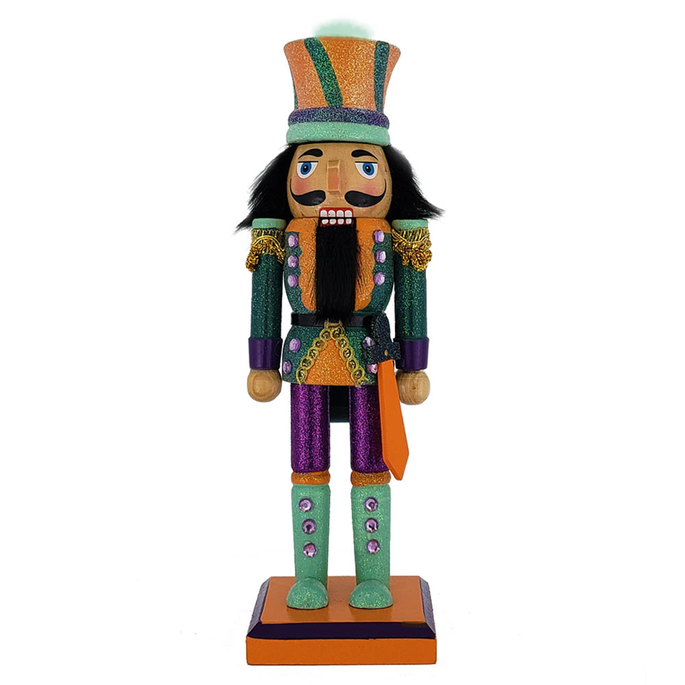 Funky Soldier Nutcracker Teal and Orange Glitter Hat 10 inch