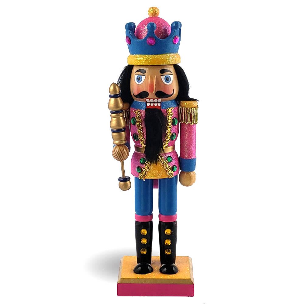 King Nutcracker Glitter Blue in Pink Jacket with Crown 10 Inch