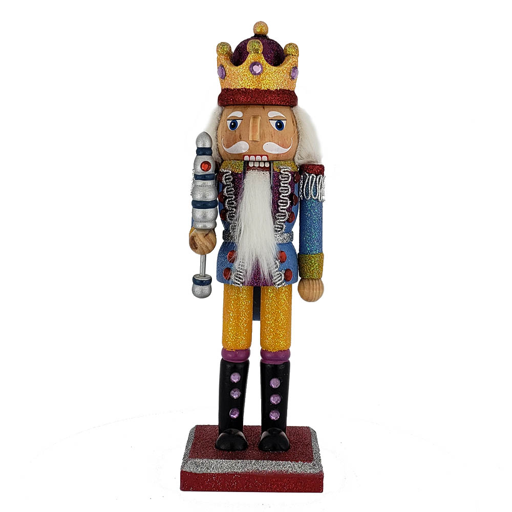 Funky King Nutcracker Yellow and Blue Glitter Crown 10 inch