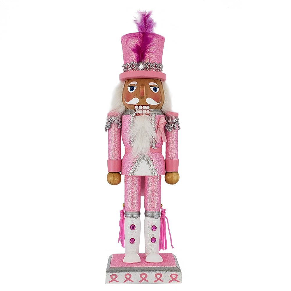 Breast Cancer Support Soldier Nutcracker Pink 10 inch