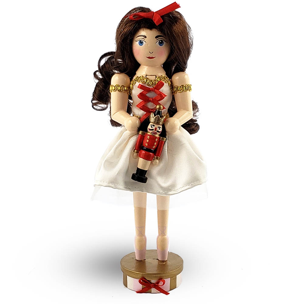 Clara Nutcracker in Cream Tulle and Red Bow on pointe 10 Inch