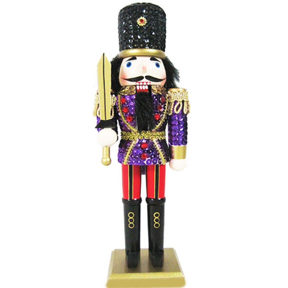 Soldier Nutcracker Sequin Jacket Purple Red with Hat 12 inch