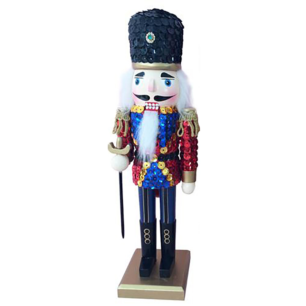 Soldier Nutcracker Sequin Jacket Red Blue with Hat 12 inch