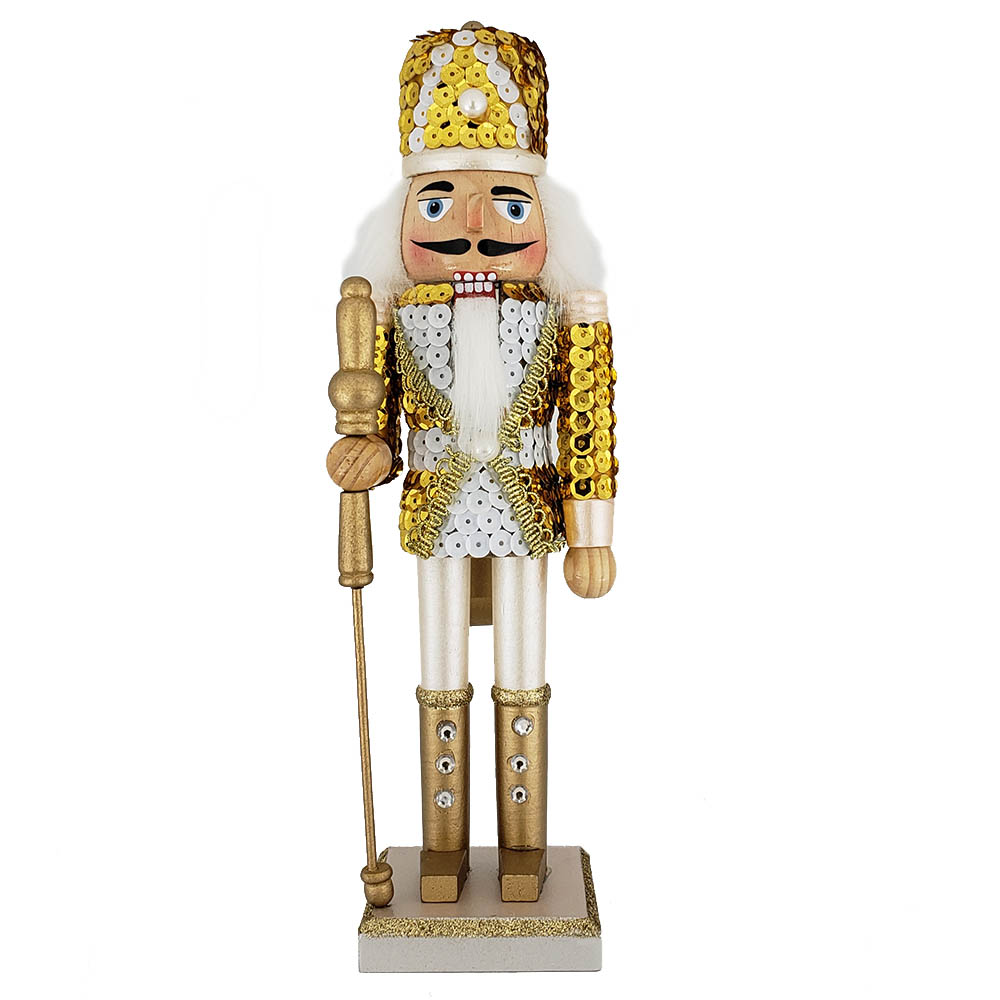 Soldier Nutcracker Sequin Jacket Gold White with Hat 12 inch