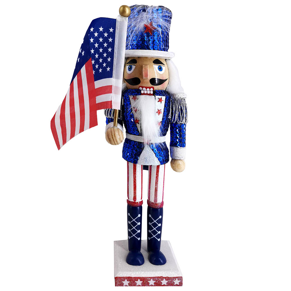 Patriotic American Nutcracker Sequin Jacket and Flag 12 inch