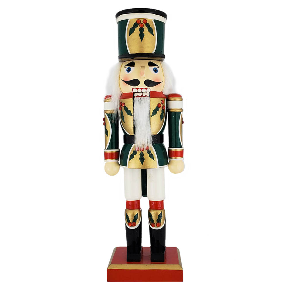 Christmas Holly Nutcracker Green Red White 12 inch