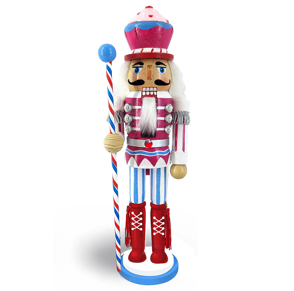 Candy Cane Nutcracker Pink and Teal with Cupcake Hat 12 inch