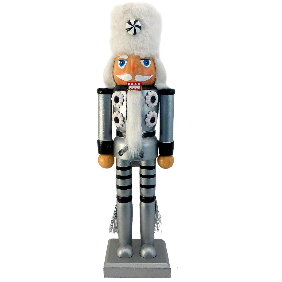 Soldier Nutcracker Silver and Black with Fur Hat and Tassels 12 inch