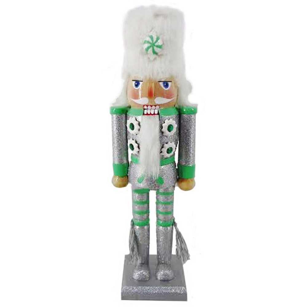 Soldier Nutcracker Silver and Green with Fur Hat and Tassels 12 inch