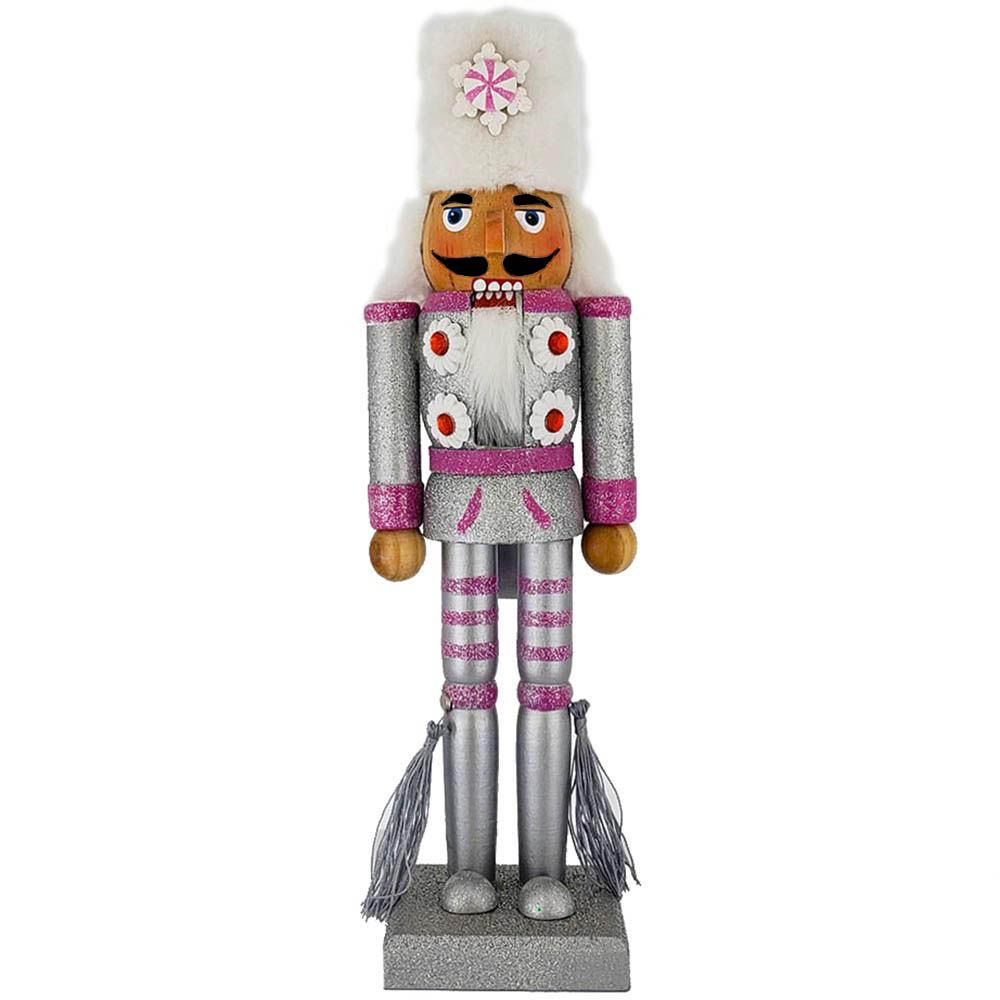 Soldier Nutcracker Silver and Pink Glitter with Fur Hat 12 inch