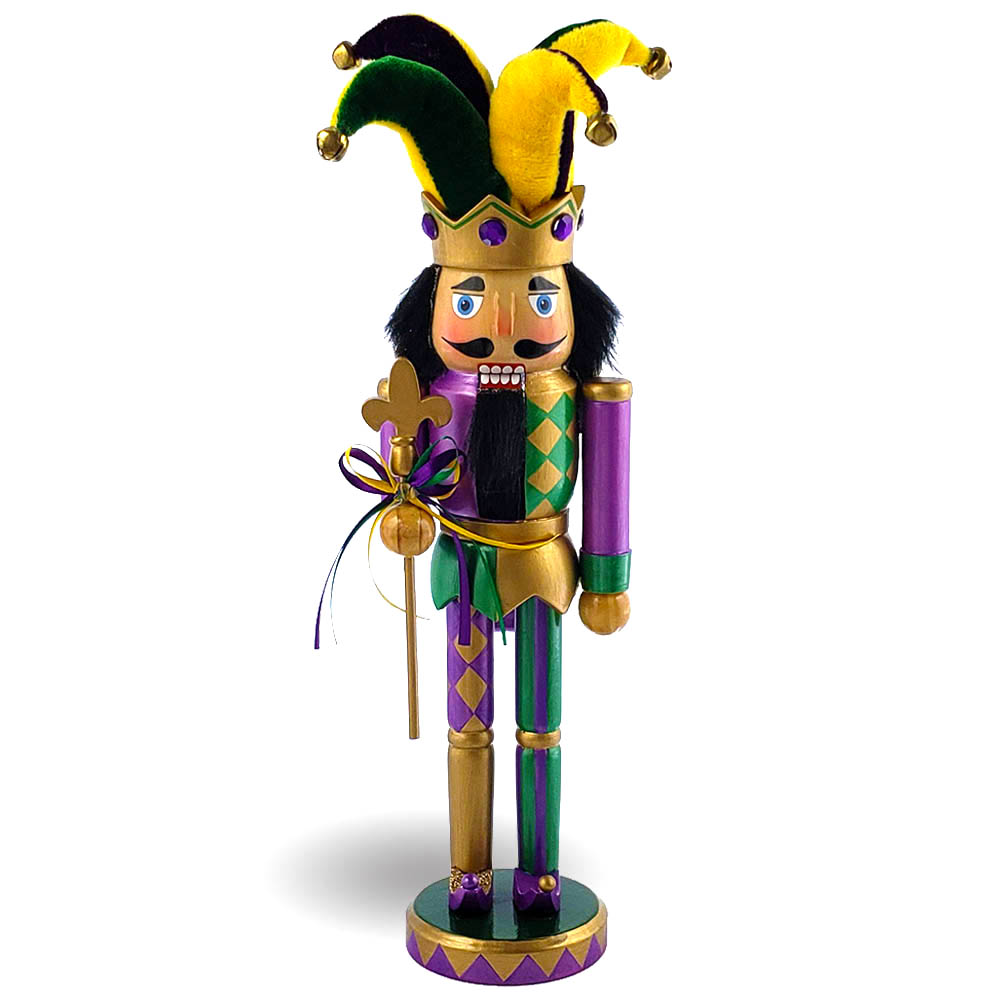 Mardi Gras Jester Nutcracker Purple Yellow and Fleur De Lis 12 inch