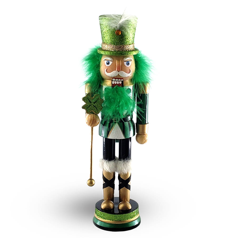 St Patricks Day Nutcracker Glitter Green Four Leaf Clover 12 inch