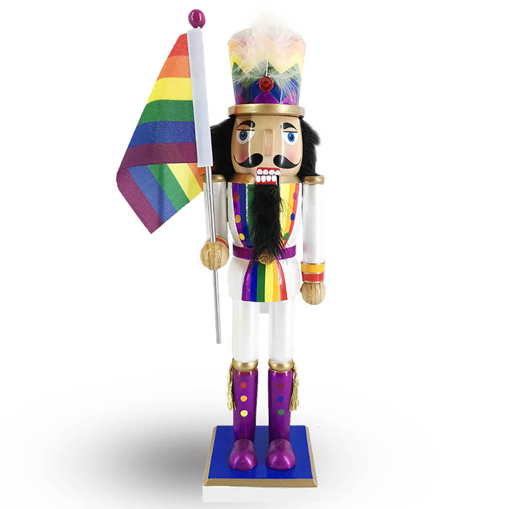 Soldier Pride Nutcracker in Rainbow Colors Waving Rainbow Pride Flag 12 inch
