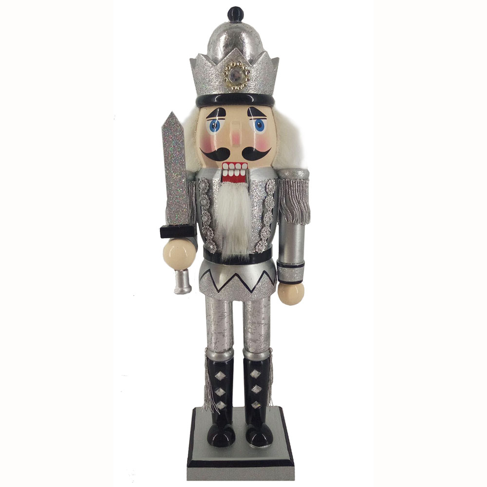 King Nutcracker Silver Anniversary with Crown and Sword 12 inch