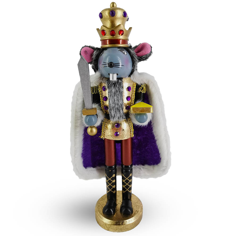 Mouse King Nutcracker in Gold Leaf and Purple Cape 14 Inch