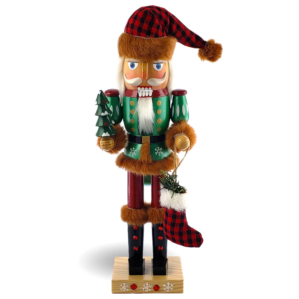Woodsman Santa wearing Red and Black Flannel with Brown Fur 14 inch