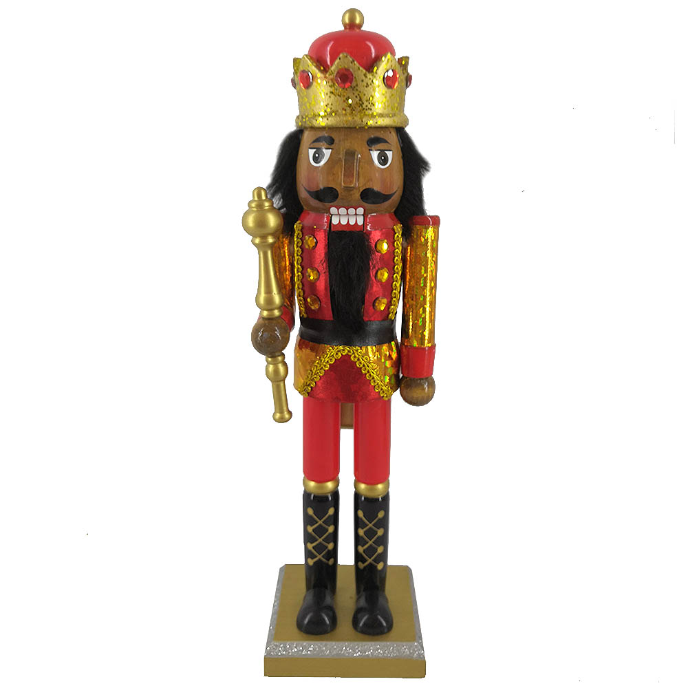 African American King Nutcracker in Red Gold Hologram 14 Inch