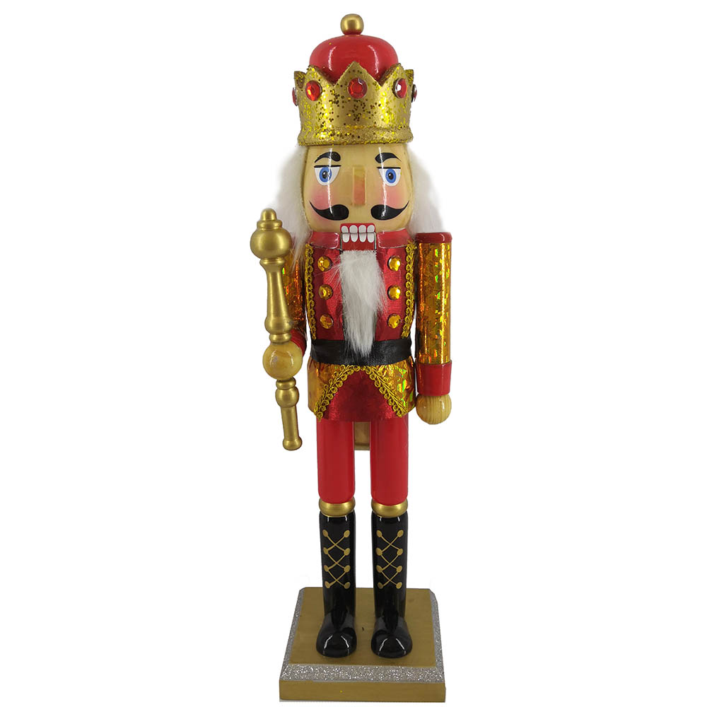 King Nutcracker in Red and Gold Hologram with Crown 14 Inch