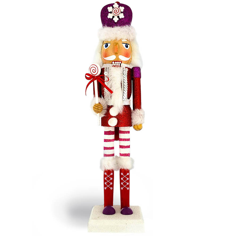 Candy Cane Nutcracker Slim Red Jacket Fur Hat 14 inch
